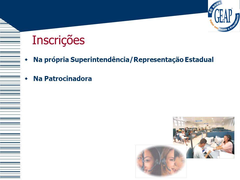 Inscrições Na própria Superintendência/Representação Estadual Na Patrocinadora