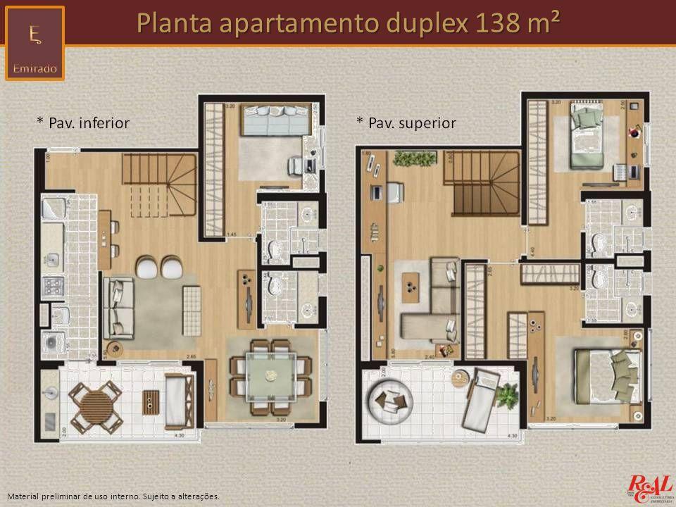 Material preliminar de uso interno. Sujeito a alterações. Planta apartamento duplex 138 m² Planta apartamento duplex 138 m²