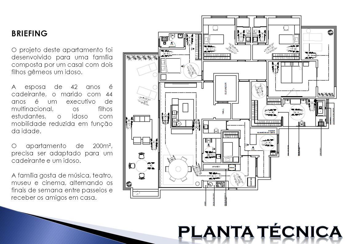BRIEFING O projeto deste apartamento foi desenvolvido para uma família composta por um casal com dois filhos gêmeos um idoso. A esposa de 42 anos é ca