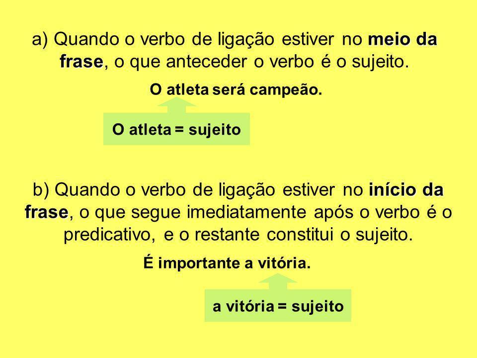 meio da frase a) Quando o verbo de ligação estiver no meio da frase, o que anteceder o verbo é o sujeito. O atleta será campeão. O atleta = sujeito in