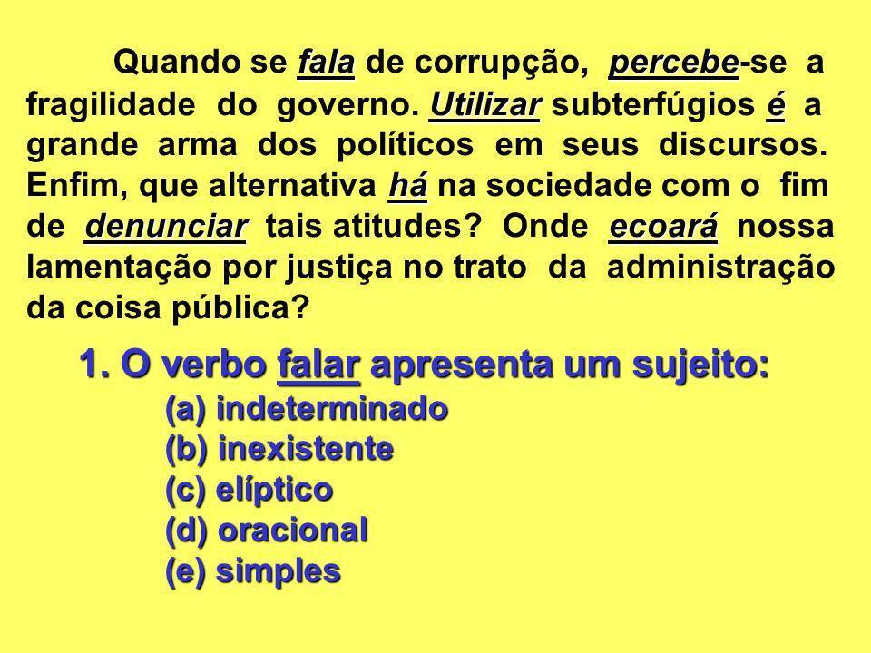 1. O verbo falar apresenta um sujeito: (a) indeterminado (b) inexistente (c) elíptico (d) oracional (e) simples falapercebe Utilizaré há denunciarecoa