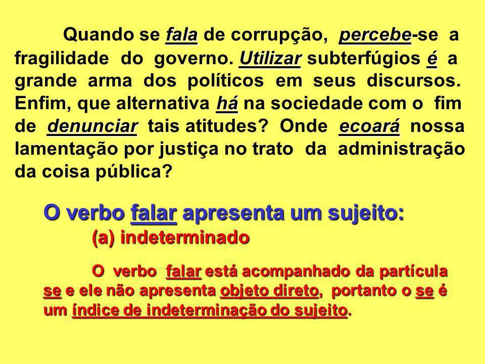 O verbo falar apresenta um sujeito: (a) indeterminado O verbo falar está acompanhado da partícula se e ele não apresenta objeto direto, portanto o se