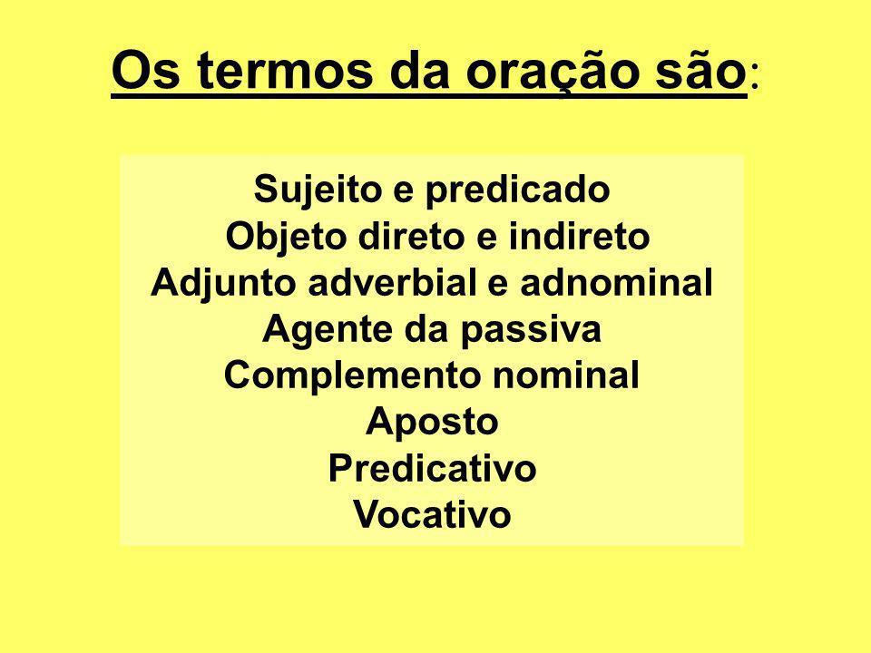 Os termos da oração são : Sujeito e predicado Objeto direto e indireto Adjunto adverbial e adnominal Agente da passiva Complemento nominal Aposto Pred