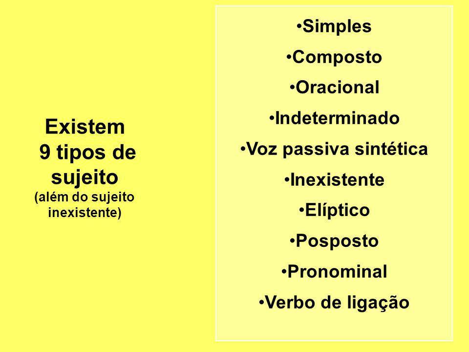 Existem 9 tipos de sujeito (além do sujeito inexistente) Simples Composto Oracional Indeterminado Voz passiva sintética Inexistente Elíptico Posposto