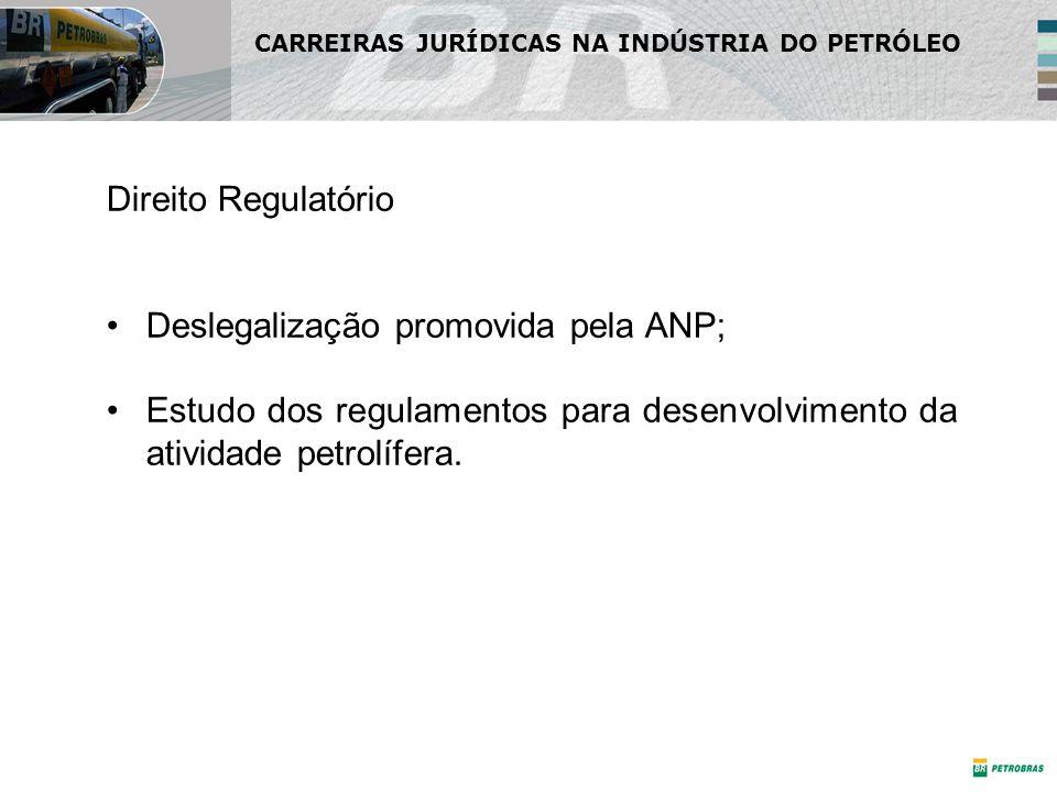 Direito Regulatório Deslegalização promovida pela ANP; Estudo dos regulamentos para desenvolvimento da atividade petrolífera. CARREIRAS JURÍDICAS NA I