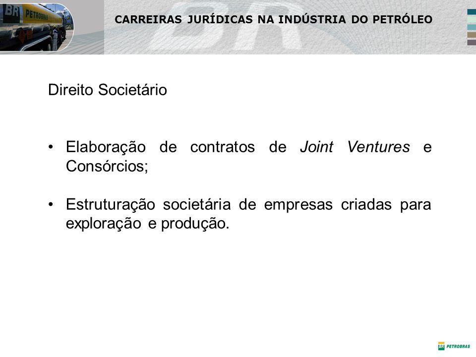Direito Societário Elaboração de contratos de Joint Ventures e Consórcios; Estruturação societária de empresas criadas para exploração e produção. CAR