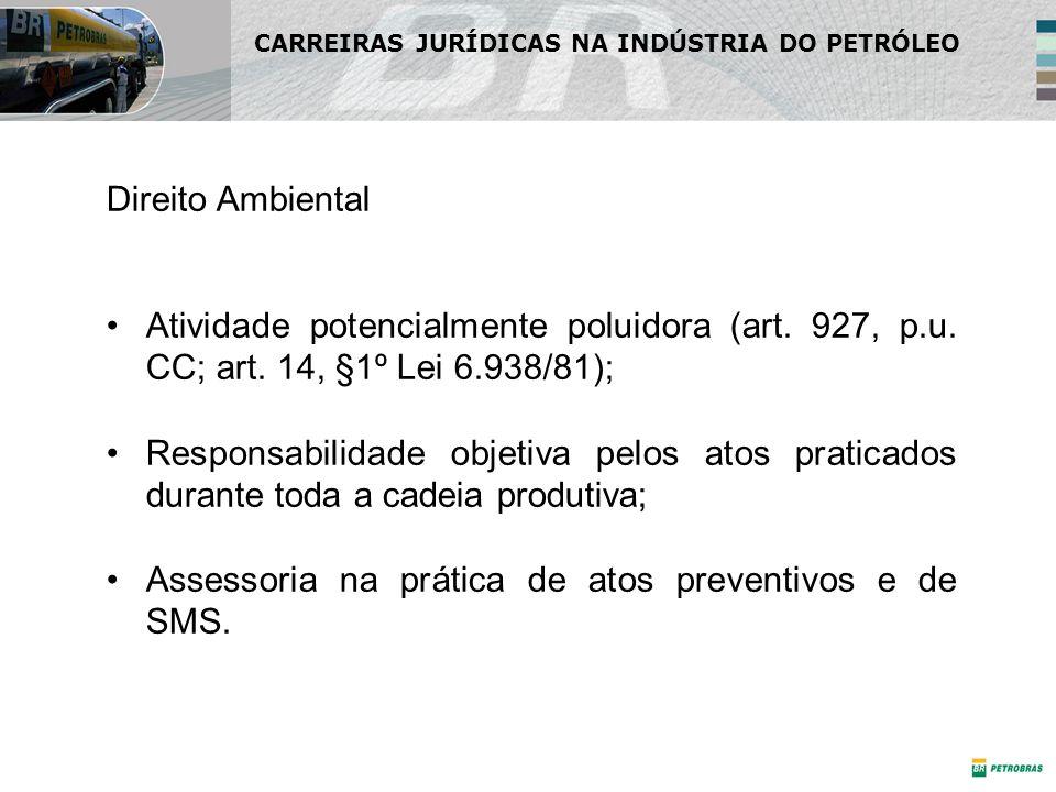 Direito Ambiental Atividade potencialmente poluidora (art. 927, p.u. CC; art. 14, §1º Lei 6.938/81); Responsabilidade objetiva pelos atos praticados d