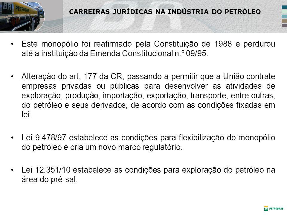 Este monopólio foi reafirmado pela Constituição de 1988 e perdurou até a instituição da Emenda Constitucional n.º 09/95.