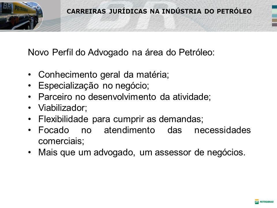 Novo Perfil do Advogado na área do Petróleo: Conhecimento geral da matéria; Especialização no negócio; Parceiro no desenvolvimento da atividade; Viabi