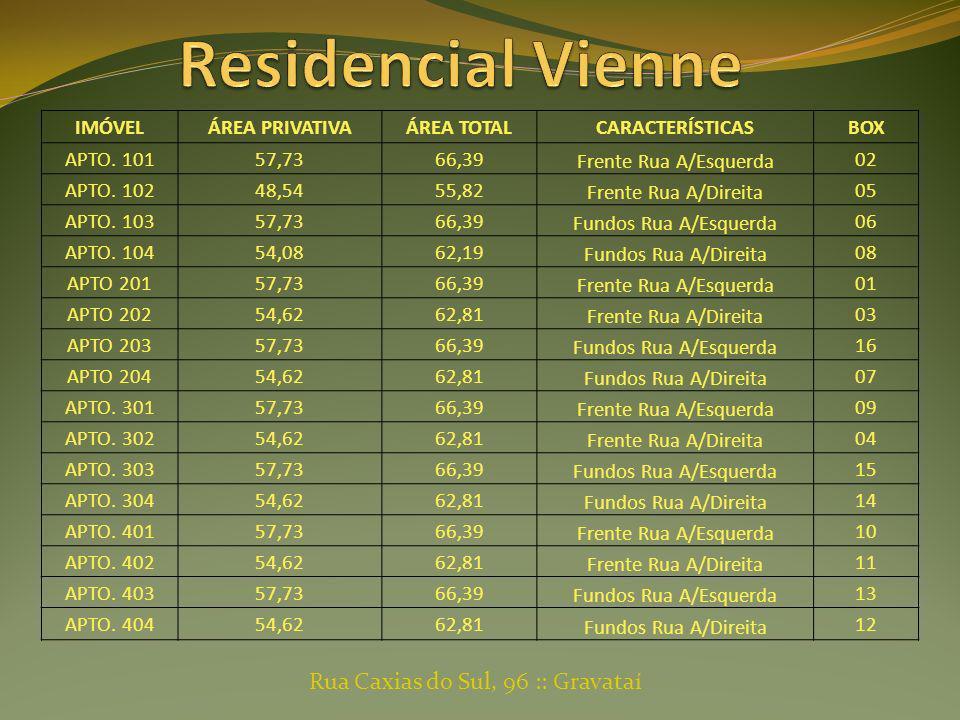 IMÓVELÁREA PRIVATIVAÁREA TOTALCARACTERÍSTICASBOX APTO. 10157,7366,39 Frente Rua A/Esquerda 02 APTO. 10248,5455,82 Frente Rua A/Direita 05 APTO. 10357,