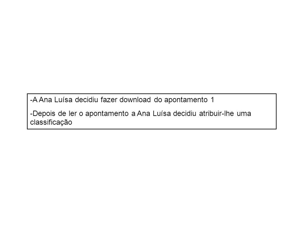 -A Ana Luísa decidiu fazer download do apontamento 1 -Depois de ler o apontamento a Ana Luísa decidiu atribuir-lhe uma classificação