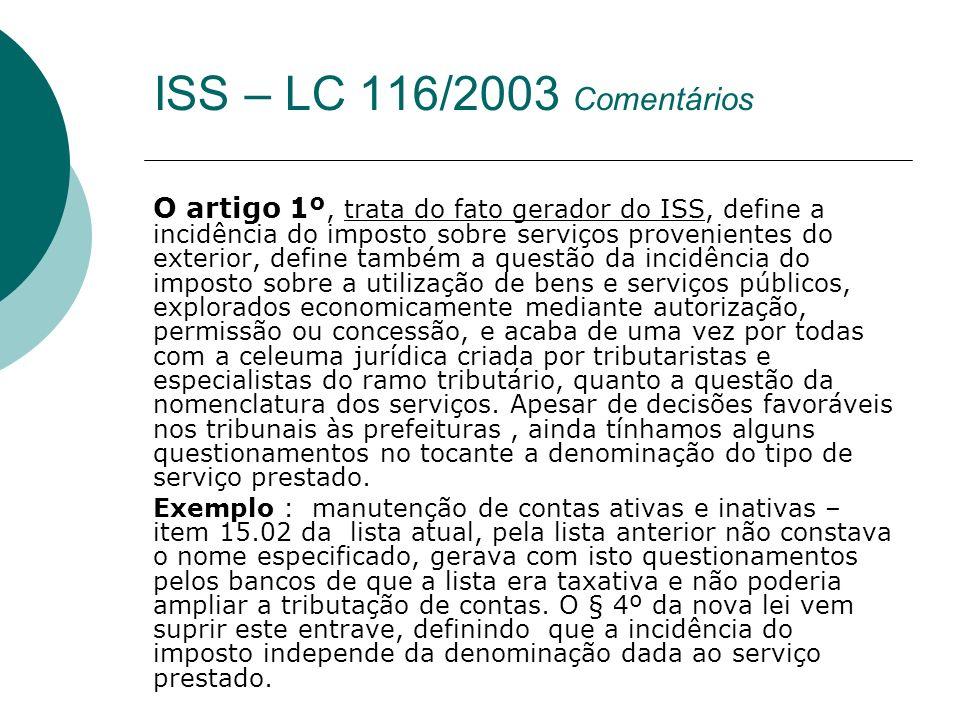 O artigo 1º, trata do fato gerador do ISS, define a incidência do imposto sobre serviços provenientes do exterior, define também a questão da incidênc