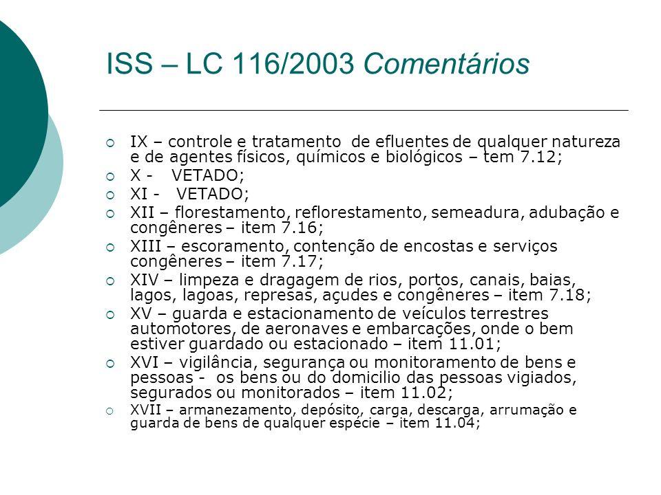 IX – controle e tratamento de efluentes de qualquer natureza e de agentes físicos, químicos e biológicos – tem 7.12; X - VETADO; XI - VETADO; XII – fl