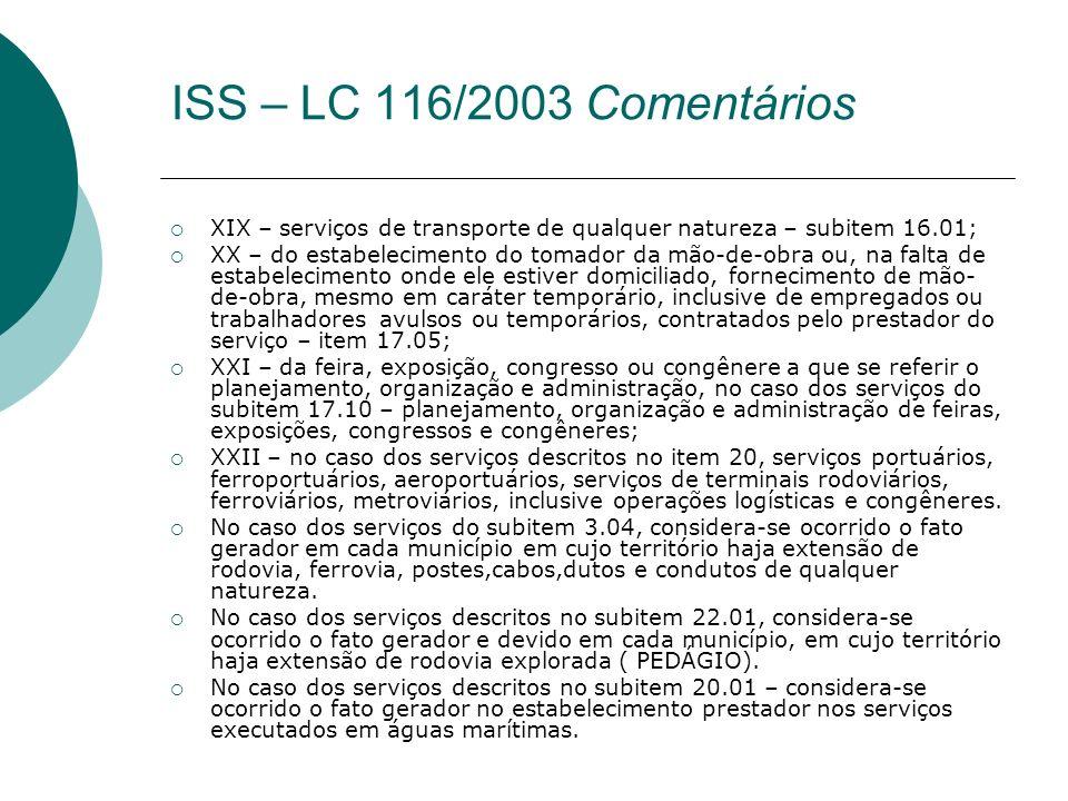 XIX – serviços de transporte de qualquer natureza – subitem 16.01; XX – do estabelecimento do tomador da mão-de-obra ou, na falta de estabelecimento o