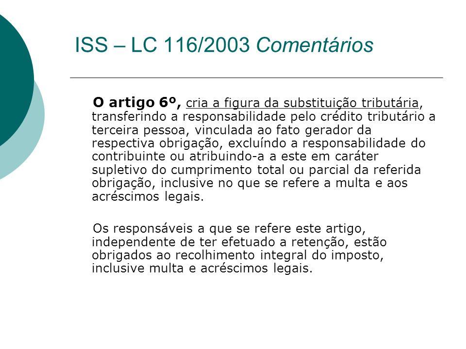 O artigo 6º, cria a figura da substituição tributária, transferindo a responsabilidade pelo crédito tributário a terceira pessoa, vinculada ao fato ge