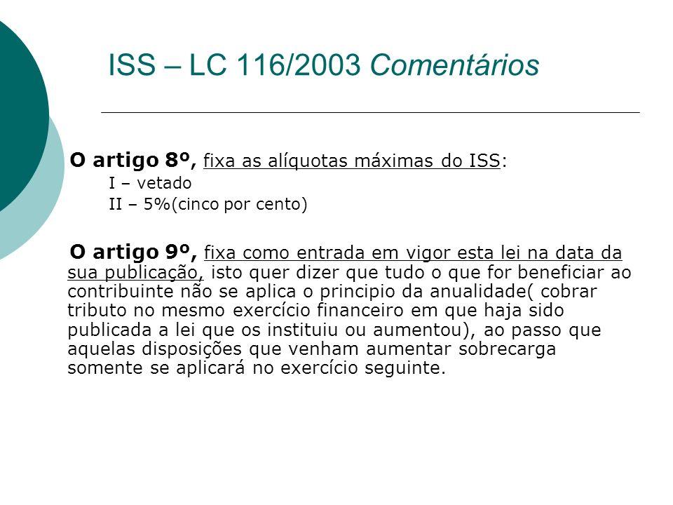 O artigo 8º, fixa as alíquotas máximas do ISS: I – vetado II – 5%(cinco por cento) O artigo 9º, fixa como entrada em vigor esta lei na data da sua pub
