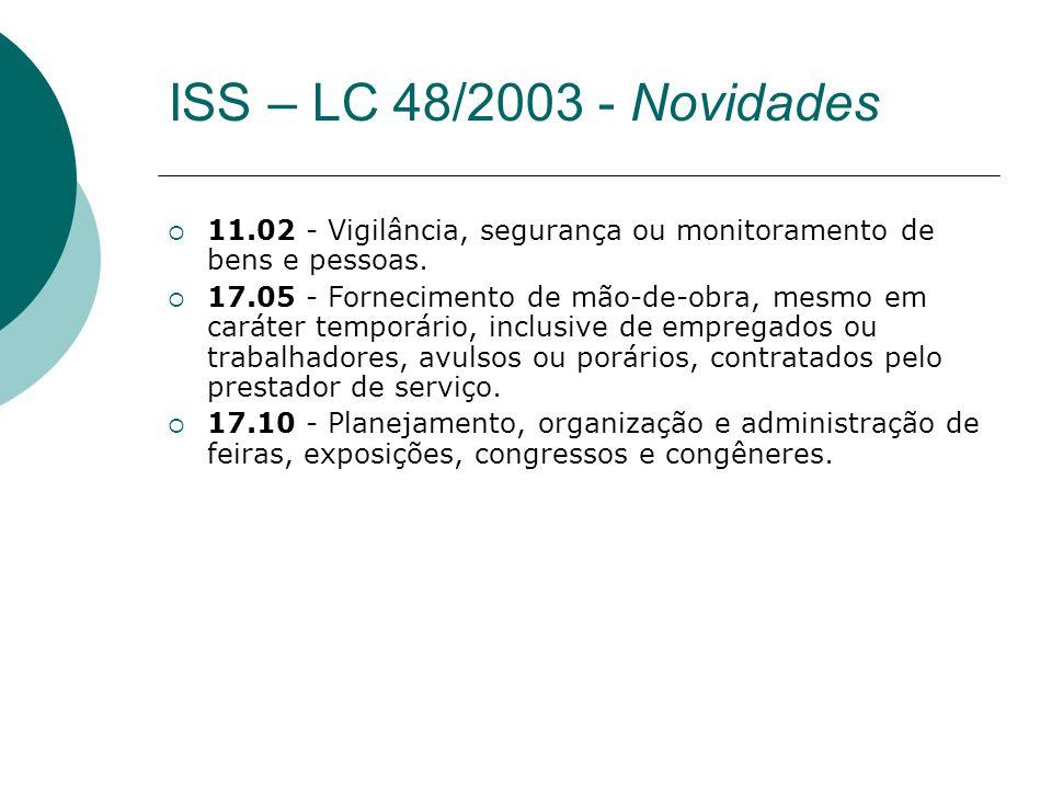 11.02 - Vigilância, segurança ou monitoramento de bens e pessoas. 17.05 - Fornecimento de mão-de-obra, mesmo em caráter temporário, inclusive de empre