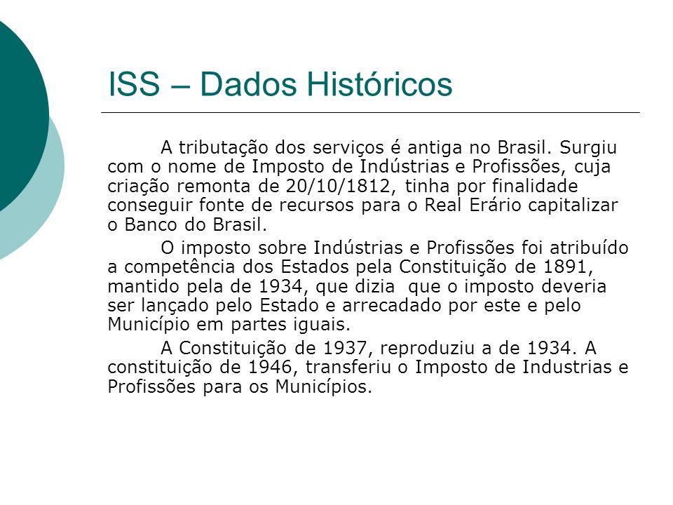 ISS – Dados Históricos A tributação dos serviços é antiga no Brasil. Surgiu com o nome de Imposto de Indústrias e Profissões, cuja criação remonta de
