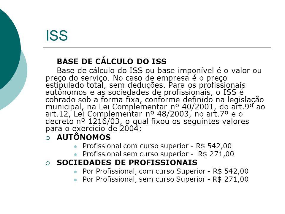 ISS BASE DE CÁLCULO DO ISS Base de cálculo do ISS ou base imponível é o valor ou preço do serviço. No caso de empresa é o preço estipulado total, sem