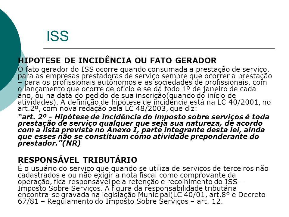 ISS HIPOTESE DE INCIDÊNCIA OU FATO GERADOR O fato gerador do ISS ocorre quando consumada a prestação de serviço, para as empresas prestadoras de servi