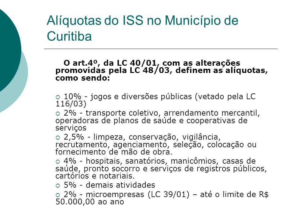 O art.4º, da LC 40/01, com as alterações promovidas pela LC 48/03, definem as alíquotas, como sendo: 10% - jogos e diversões públicas (vetado pela LC