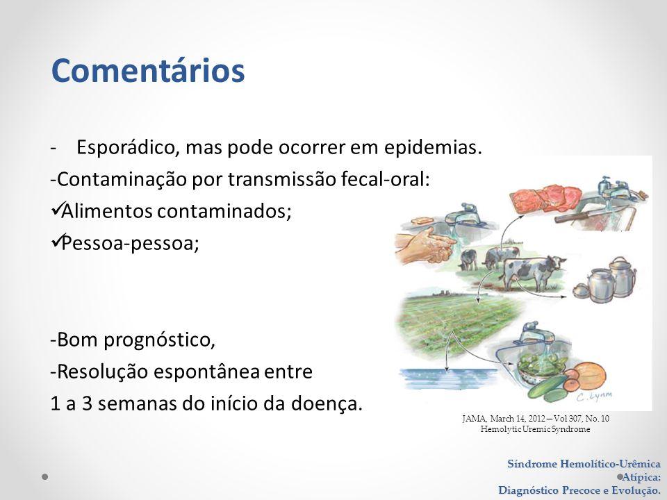 JAMA, March 14, 2012Vol 307, No. 10 Hemolytic Uremic Syndrome - Esporádico, mas pode ocorrer em epidemias. -Contaminação por transmissão fecal-oral: A