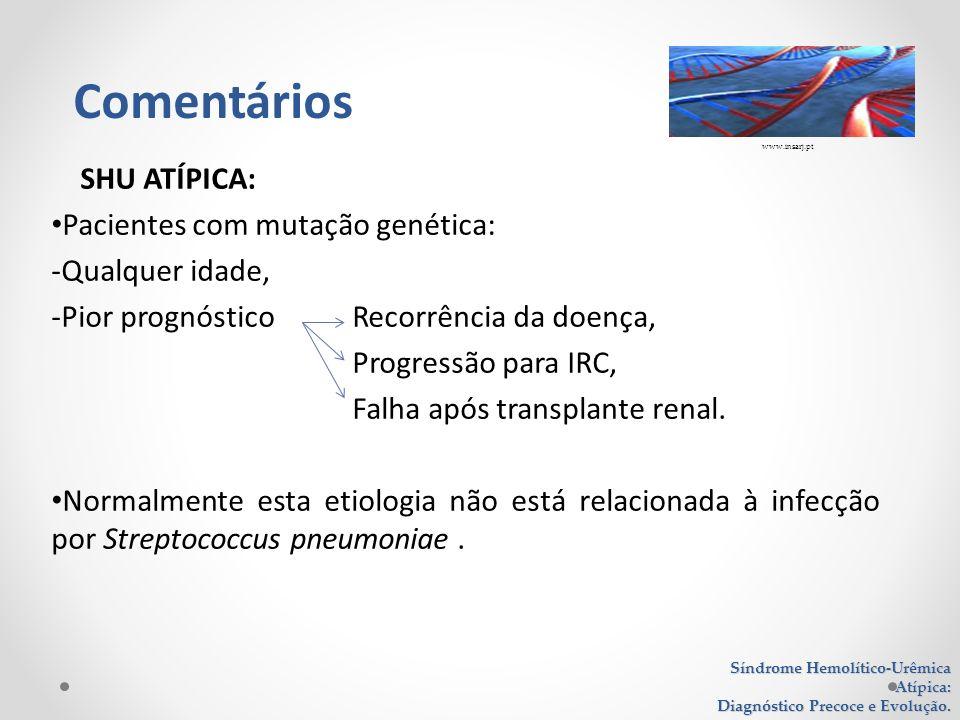 SHU ATÍPICA: Pacientes com mutação genética: -Qualquer idade, -Pior prognóstico Recorrência da doença, Progressão para IRC, Falha após transplante ren