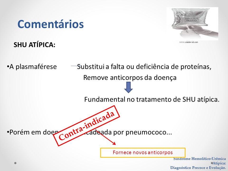 SHU ATÍPICA: A plasmaférese Substitui a falta ou deficiência de proteínas, Remove anticorpos da doença Fundamental no tratamento de SHU atípica. Porém