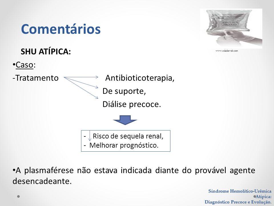 SHU ATÍPICA: Caso: -Tratamento Antibioticoterapia, De suporte, Diálise precoce. A plasmaférese não estava indicada diante do provável agente desencade