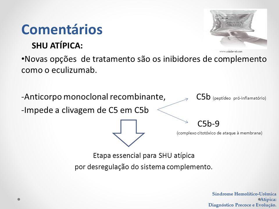 SHU ATÍPICA: Novas opções de tratamento são os inibidores de complemento como o eculizumab. -Anticorpo monoclonal recombinante, C5b (peptídeo pró-infl