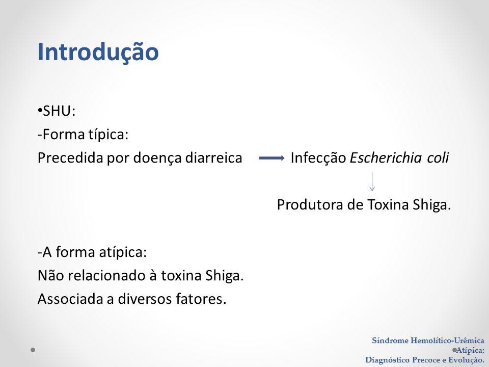 SHU: -Forma típica: Precedida por doença diarreica Infecção Escherichia coli Produtora de Toxina Shiga. -A forma atípica: Não relacionado à toxina Shi
