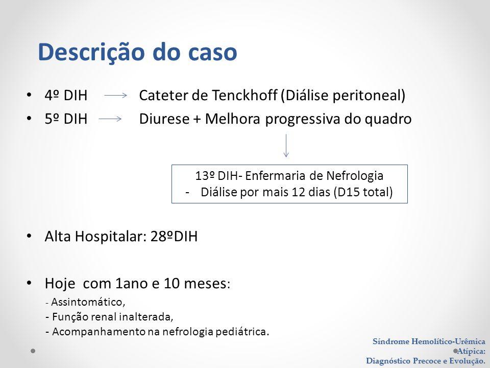 4º DIH Cateter de Tenckhoff (Diálise peritoneal) 5º DIH Diurese + Melhora progressiva do quadro Alta Hospitalar: 28ºDIH Hoje com 1ano e 10 meses : Sín