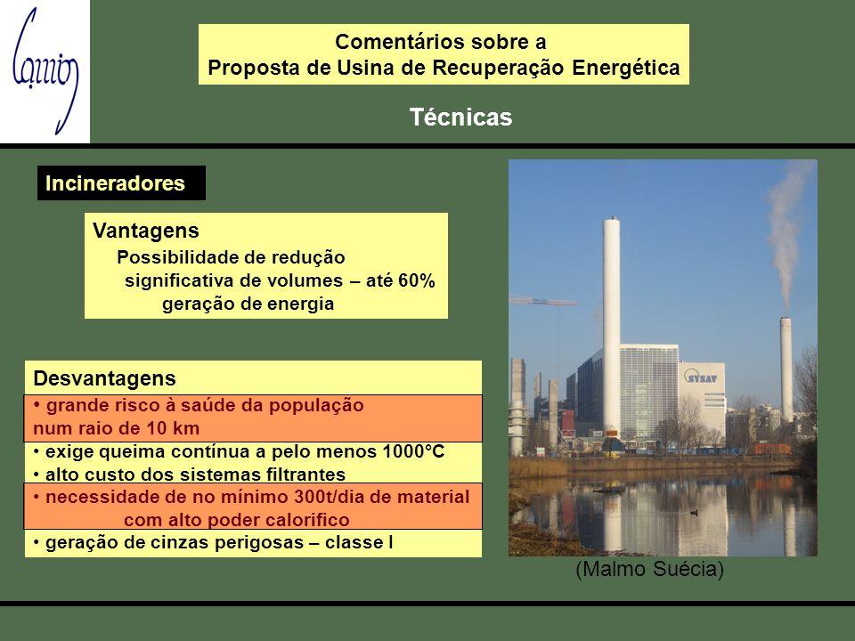 Comentários sobre a Proposta de Usina de Recuperação Energética Técnicas Incineradores Vantagens Possibilidade de redução significativa de volumes – a