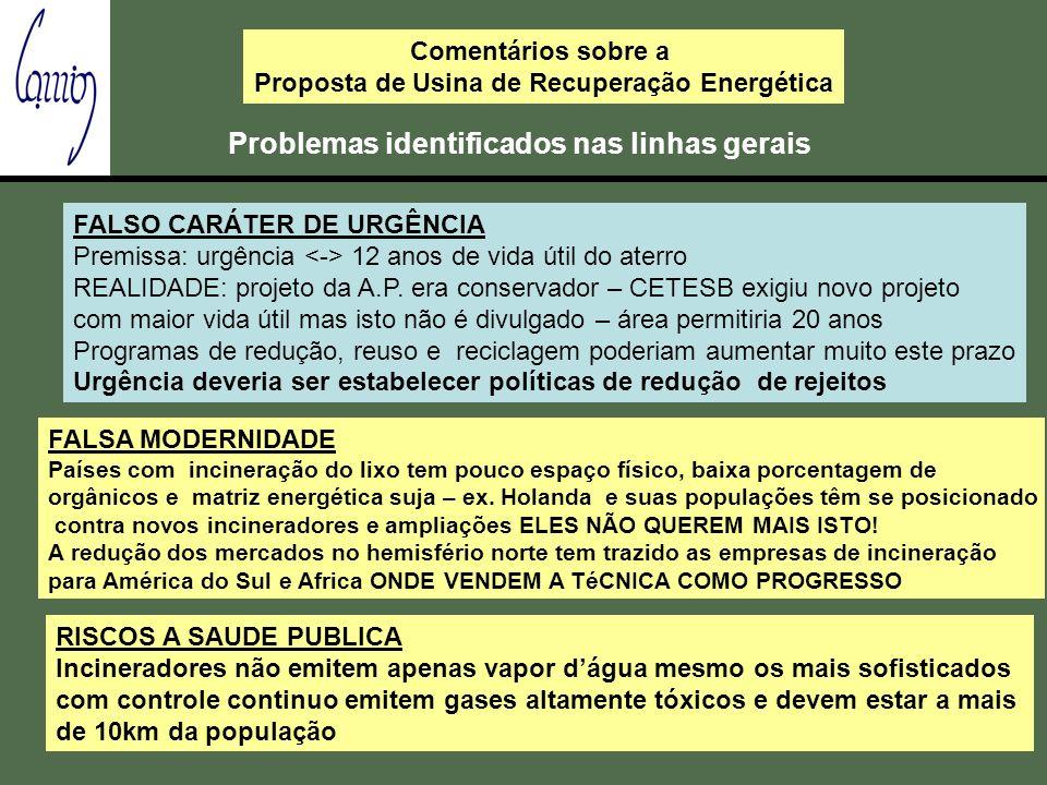 Comentários sobre a Proposta de Usina de Recuperação Energética Problemas identificados nas linhas gerais FALSO CARÁTER DE URGÊNCIA Premissa: urgência