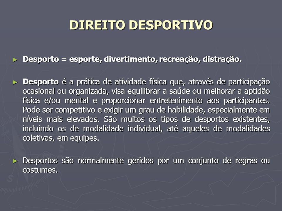 DIREITO DESPORTIVO Desporto = esporte, divertimento, recreação, distração. Desporto = esporte, divertimento, recreação, distração. Desporto é a prátic