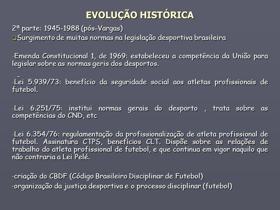 - 2ª parte: 1945-1988 (pós-Vargas) Surgimento de muitas normas na legislação desportiva brasileira Surgimento de muitas normas na legislação desportiv