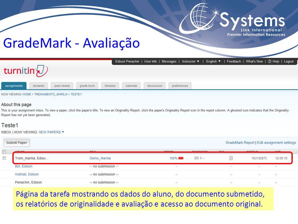 Página da tarefa mostrando os dados do aluno, do documento submetido, os relatórios de originalidade e avaliação e acesso ao documento original. Grade