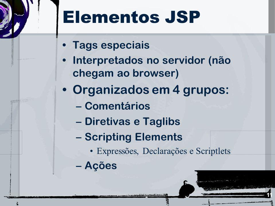 11 Elementos JSP Tags especiais Interpretados no servidor (não chegam ao browser) Organizados em 4 grupos: –Comentários –Diretivas e Taglibs –Scriptin