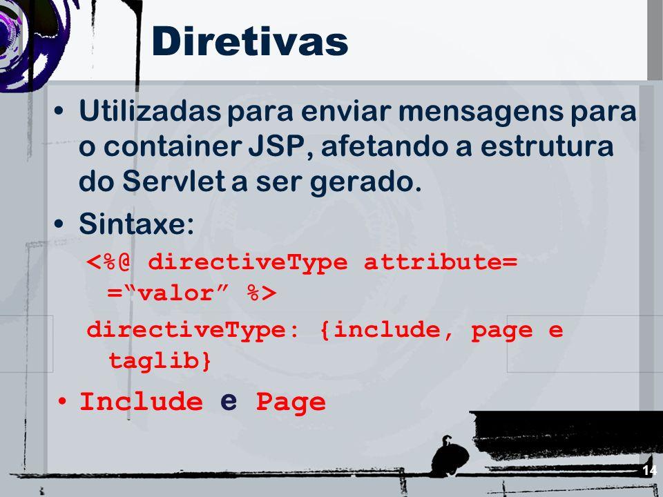 14 Diretivas Utilizadas para enviar mensagens para o container JSP, afetando a estrutura do Servlet a ser gerado. Sintaxe: directiveType: {include, pa