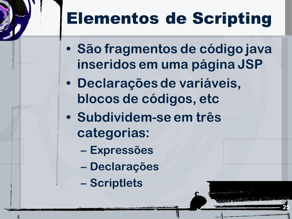 25 Elementos de Scripting São fragmentos de código java inseridos em uma página JSP Declarações de variáveis, blocos de códigos, etc Subdividem-se em