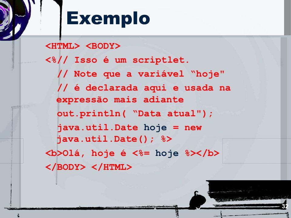 32 Exemplo <%// Isso é um scriptlet. // Note que a variável hoje