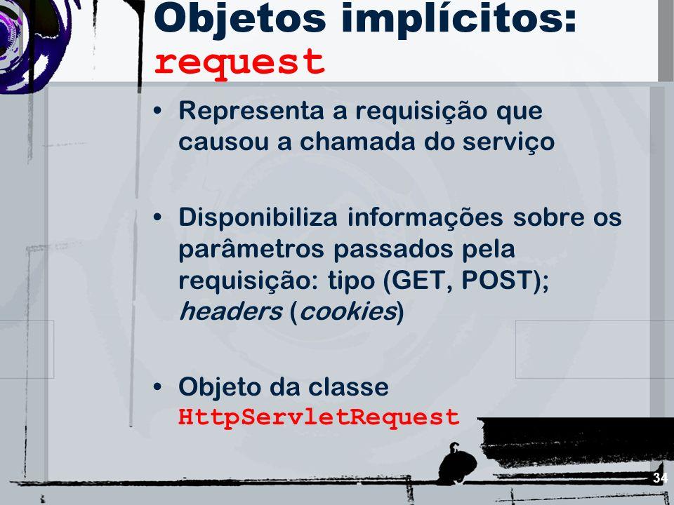 34 Objetos implícitos: request Representa a requisição que causou a chamada do serviço Disponibiliza informações sobre os parâmetros passados pela req