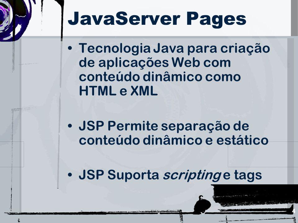 25 Elementos de Scripting São fragmentos de código java inseridos em uma página JSP Declarações de variáveis, blocos de códigos, etc Subdividem-se em três categorias: –Expressões –Declarações –Scriptlets