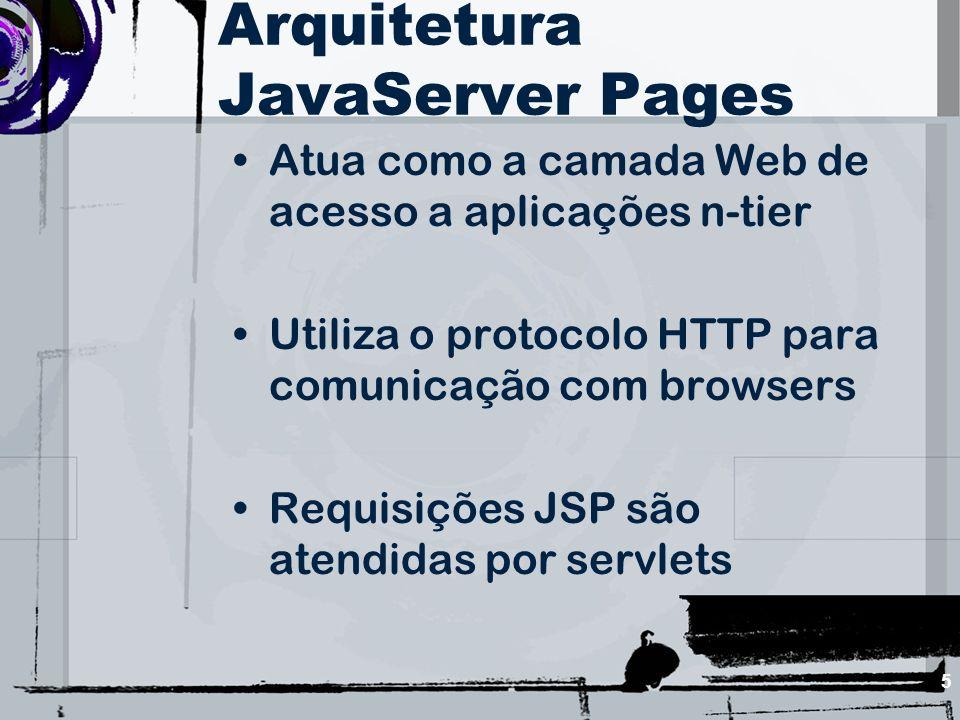 5 Arquitetura JavaServer Pages Atua como a camada Web de acesso a aplicações n-tier Utiliza o protocolo HTTP para comunicação com browsers Requisições