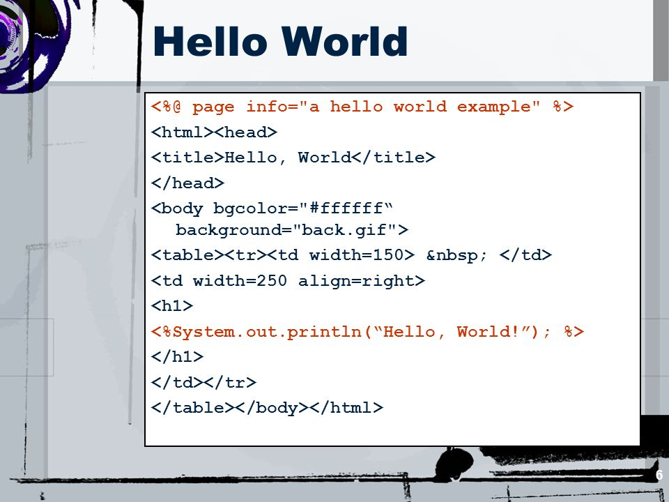 6 Hello World Hello, World