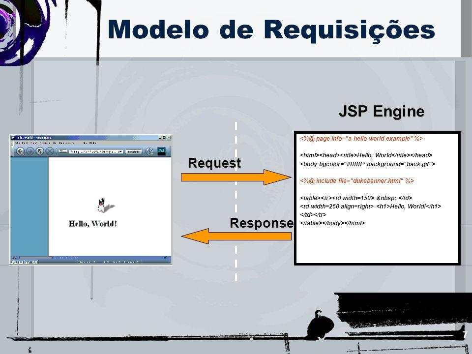 8 O JSPEngine é um software para: –Atender requisições de páginas JSP –Transformar uma página JSP requisitada em um servlet –Executar o servlet para atender as requisições JSP correspondentes Pode ser acoplado a um servidor web ou a um servidor de aplicações