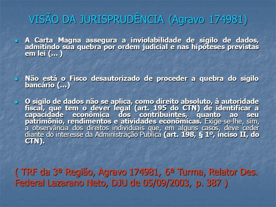 VISÃO DA JURISPRUDÊNCIA (Agravo 174981) A Carta Magna assegura a inviolabilidade de sigilo de dados, admitindo sua quebra por ordem judicial e nas hipóteses previstas em lei (...