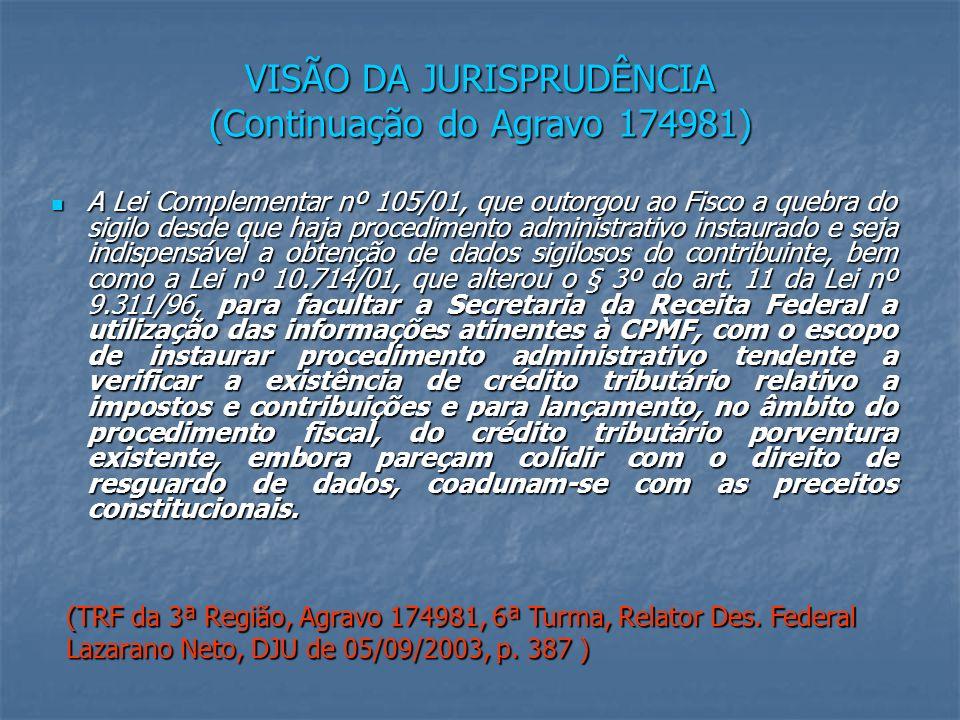 VISÃO DA JURISPRUDÊNCIA (Continuação do Agravo 174981) A Lei Complementar nº 105/01, que outorgou ao Fisco a quebra do sigilo desde que haja procedimento administrativo instaurado e seja indispensável a obtenção de dados sigilosos do contribuinte, bem como a Lei nº 10.714/01, que alterou o § 3º do art.