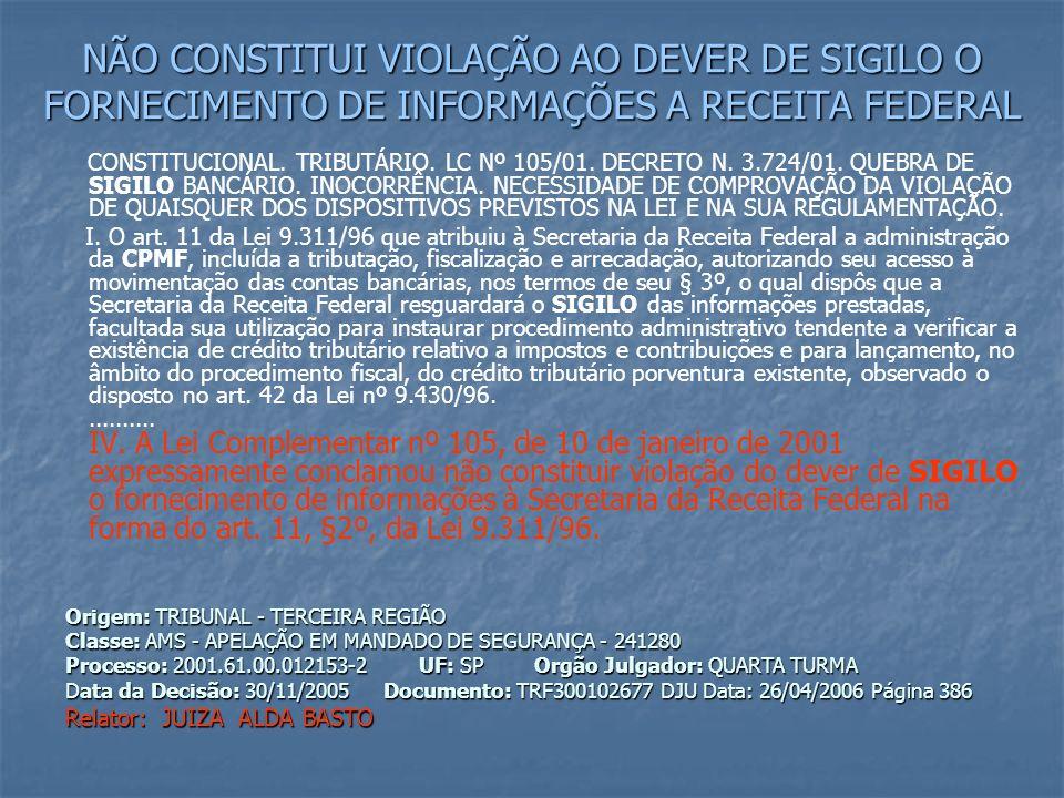 NÃO CONSTITUI VIOLAÇÃO AO DEVER DE SIGILO O FORNECIMENTO DE INFORMAÇÕES A RECEITA FEDERAL CONSTITUCIONAL.