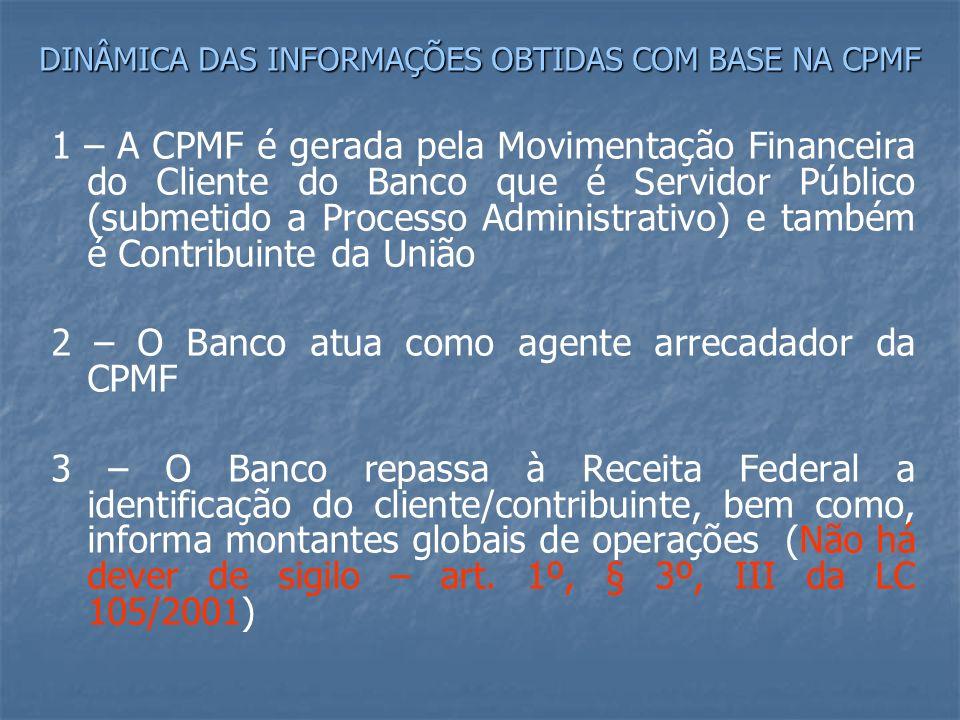 DINÂMICA DAS INFORMAÇÕES OBTIDAS COM BASE NA CPMF 1 – A CPMF é gerada pela Movimentação Financeira do Cliente do Banco que é Servidor Público (submetido a Processo Administrativo) e também é Contribuinte da União 2 – O Banco atua como agente arrecadador da CPMF 3 – O Banco repassa à Receita Federal a identificação do cliente/contribuinte, bem como, informa montantes globais de operações (Não há dever de sigilo – art.